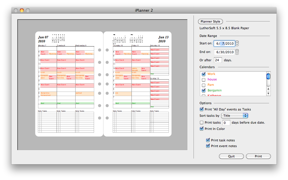 iPlanner by LutherSoft screenshot