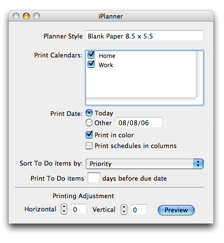 Print from iCal to your day planner.